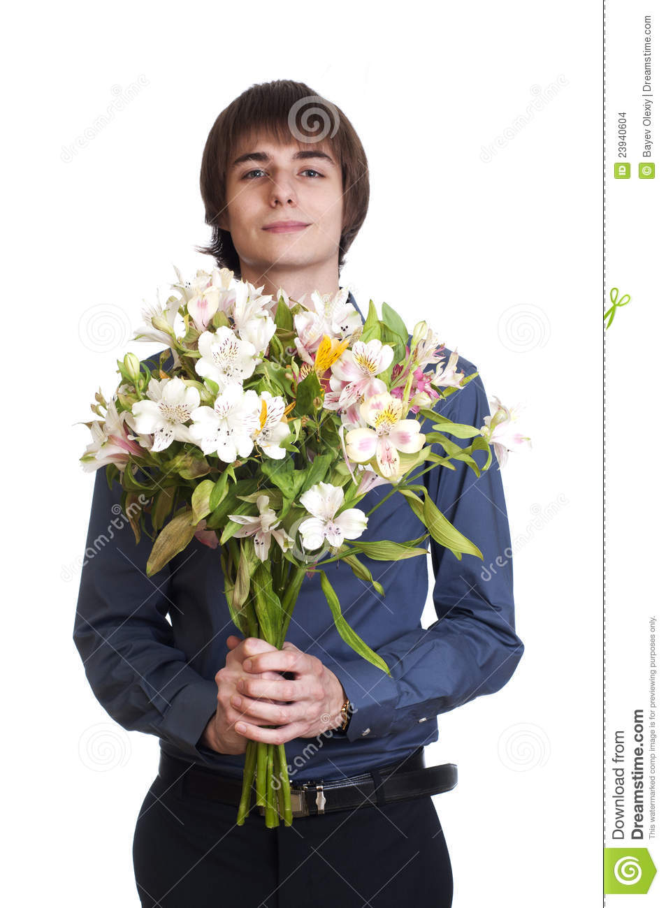 Happy Men Hold Bouquet Of Flowers Stock Photo Image Of Relations
