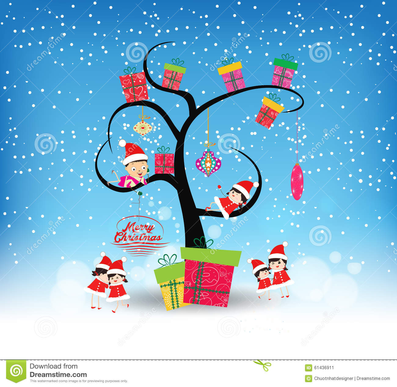 Merry Christmas Funny Images.Happy Merry Christmas With Funny Kids And Gifts Stock Vector