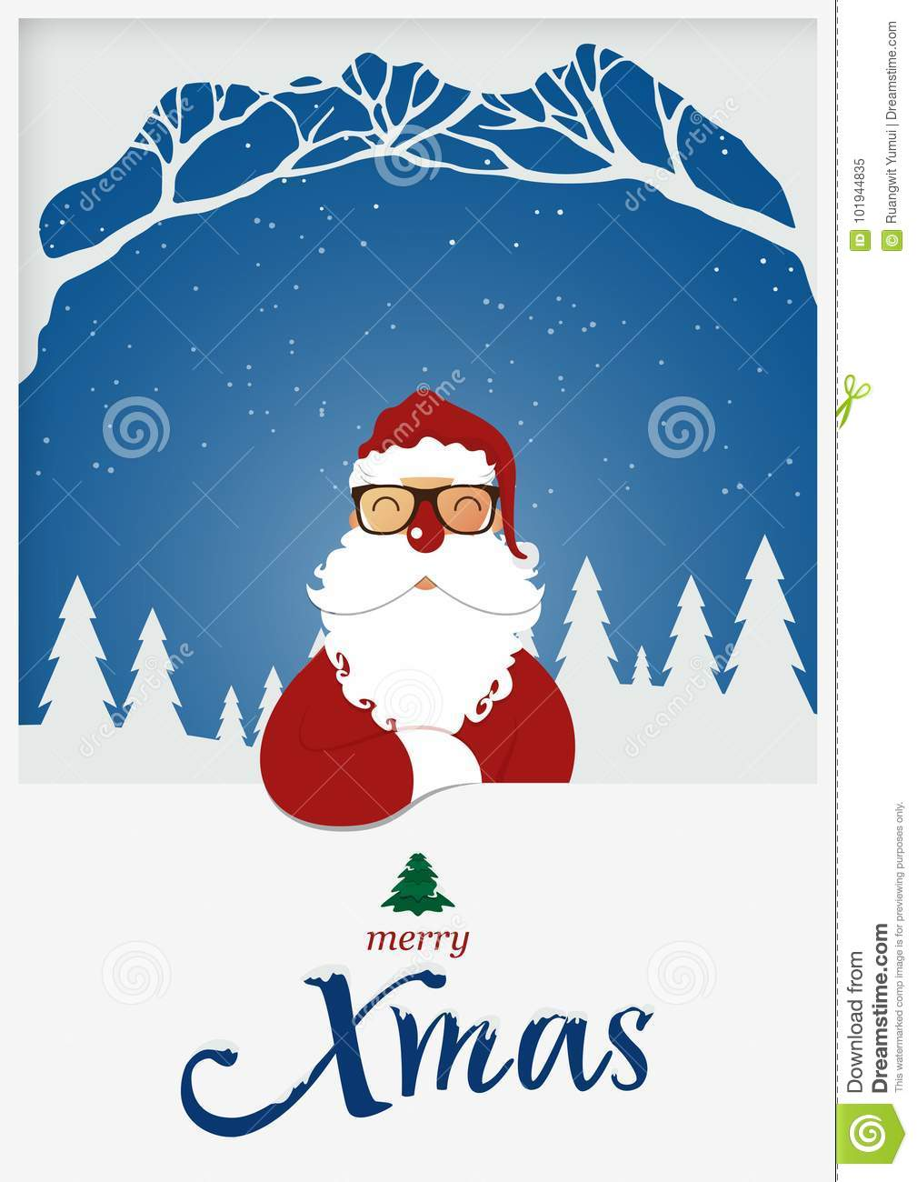 Happy Merry Christmas Greeting Card Santa Claus Red Nose Standing