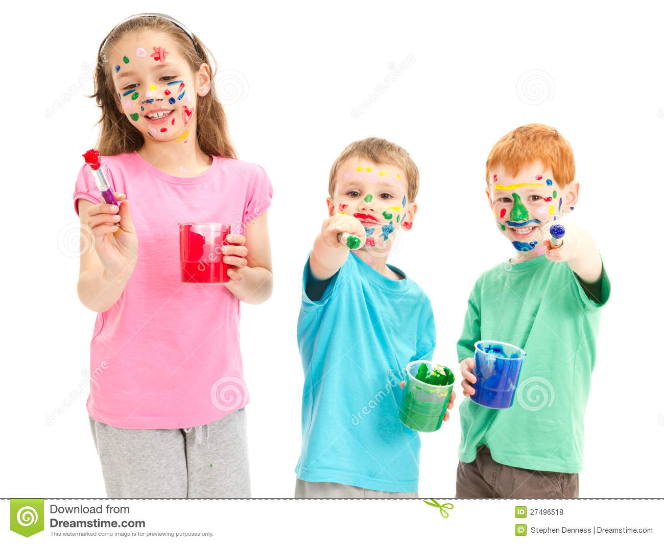 royalty free stock photo download happy messy kids with paint