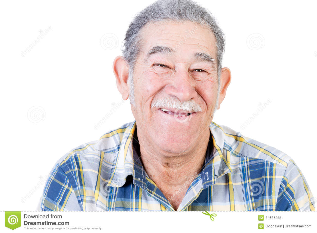 happy mexican man with mustache and flannel shirt stock image