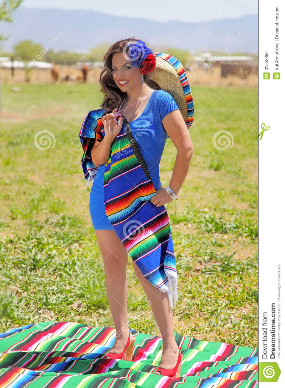 happy mexican pin up girl stock photo. image of grass - 31553882