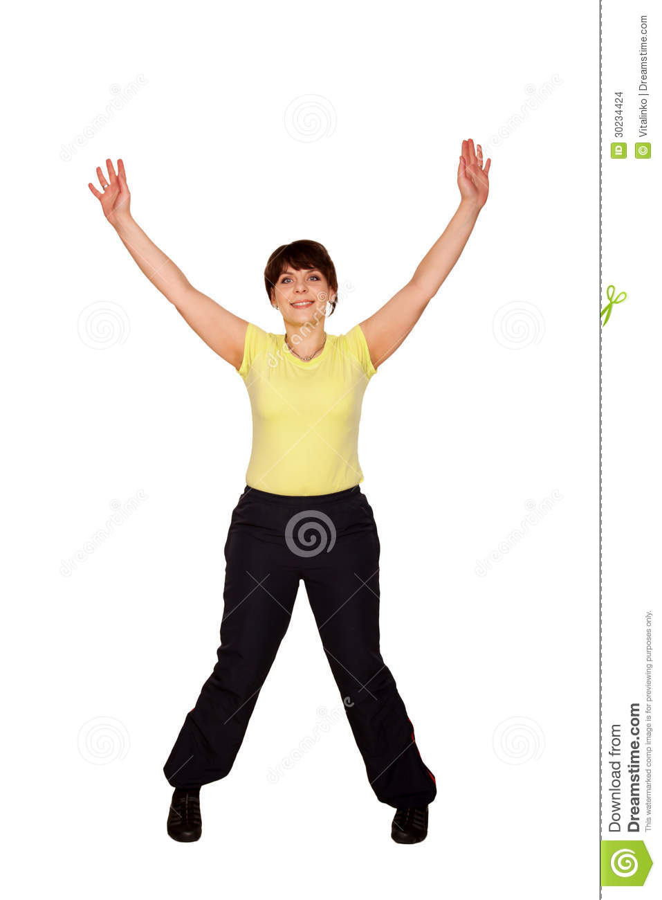 Happy Middle-Aged Woman Jumping And Waving Her Arms Stock -5171