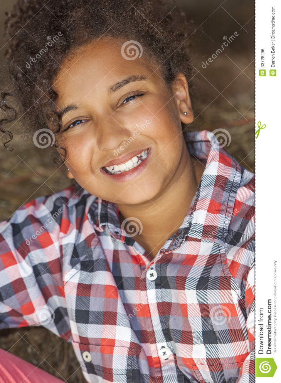 Happy Mixed Race African American Girl Child Stock Photo
