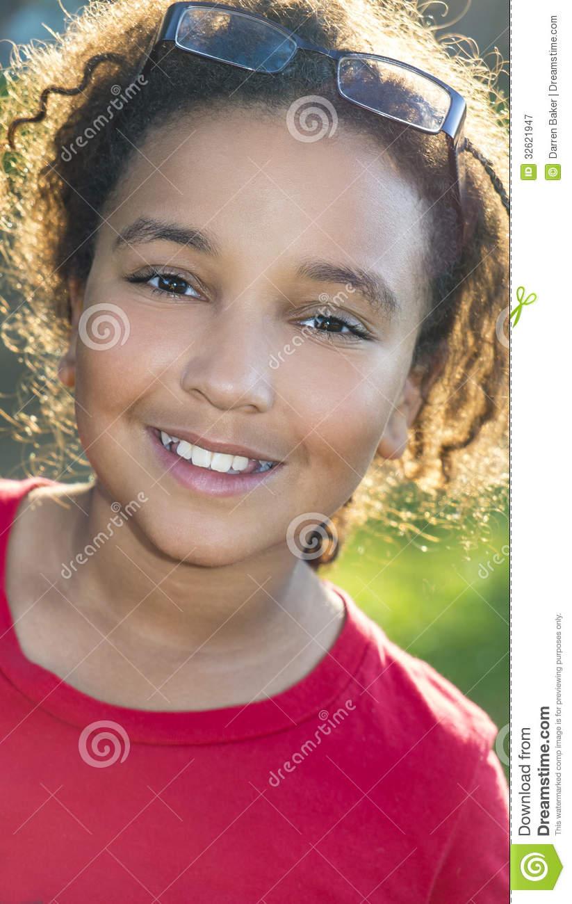 Happy Mixed Race African American Girl Child Royalty Free
