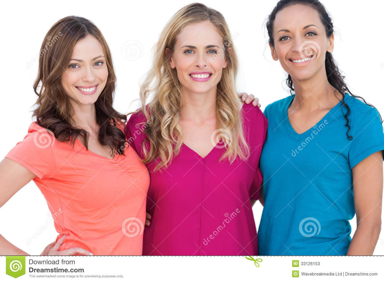 Happy models posing with colorful t shirts on white background.