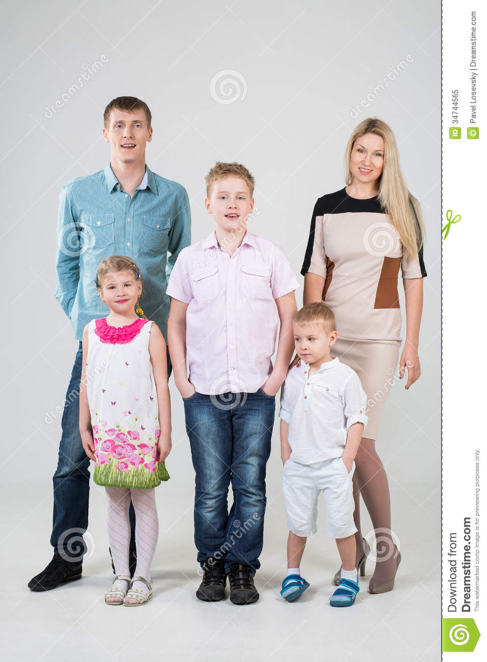 Happy modern family of five people
