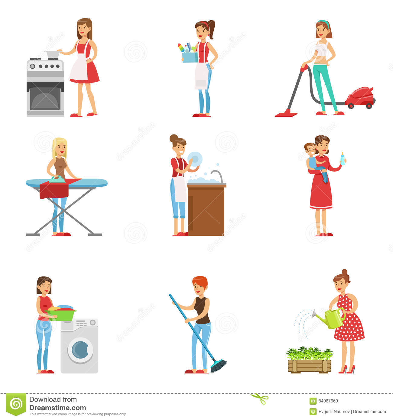 happy modern housewives cleaning and housekeeping