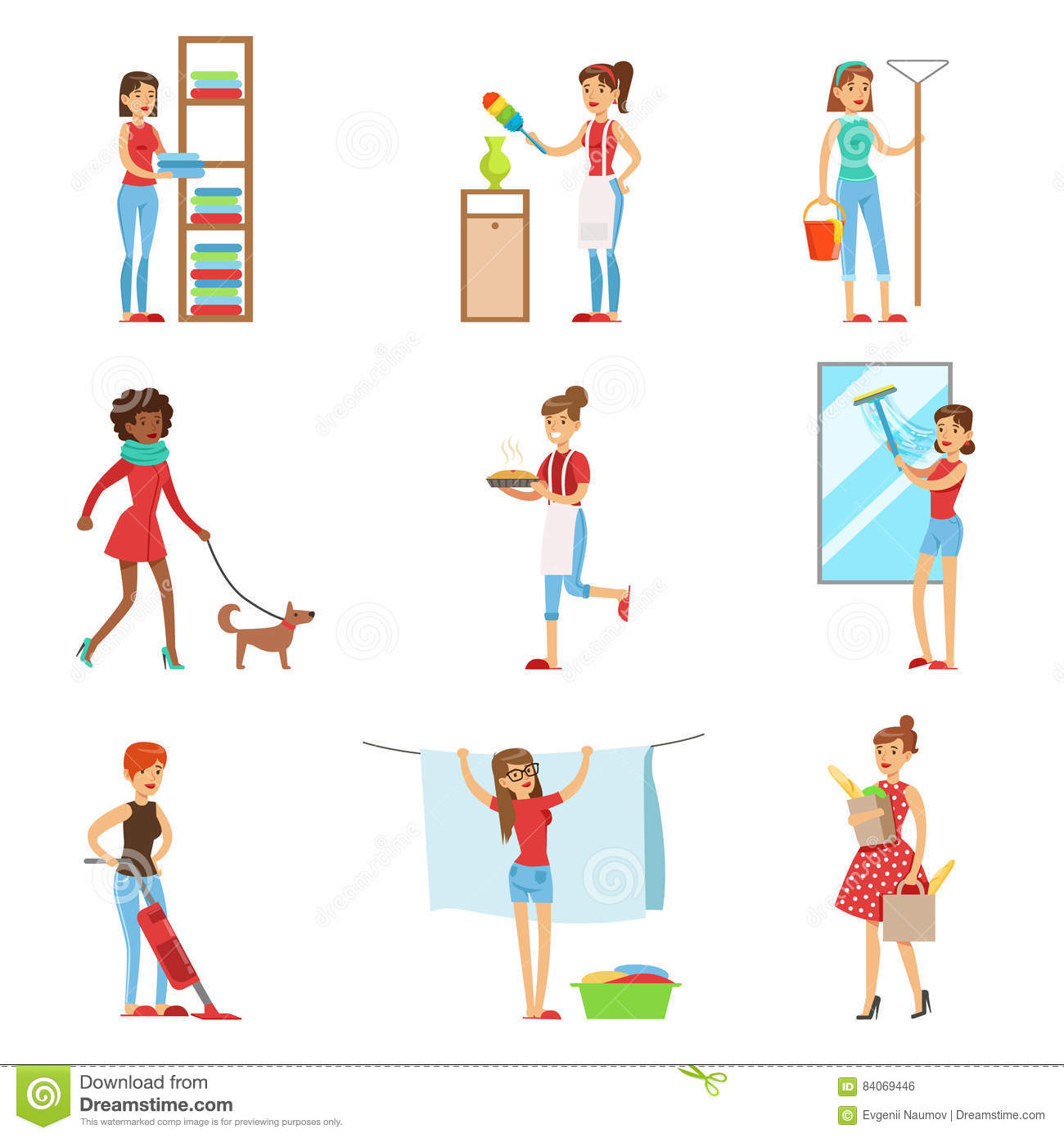 modern housewife duties happy modern housewives shopping and housekeeping performing