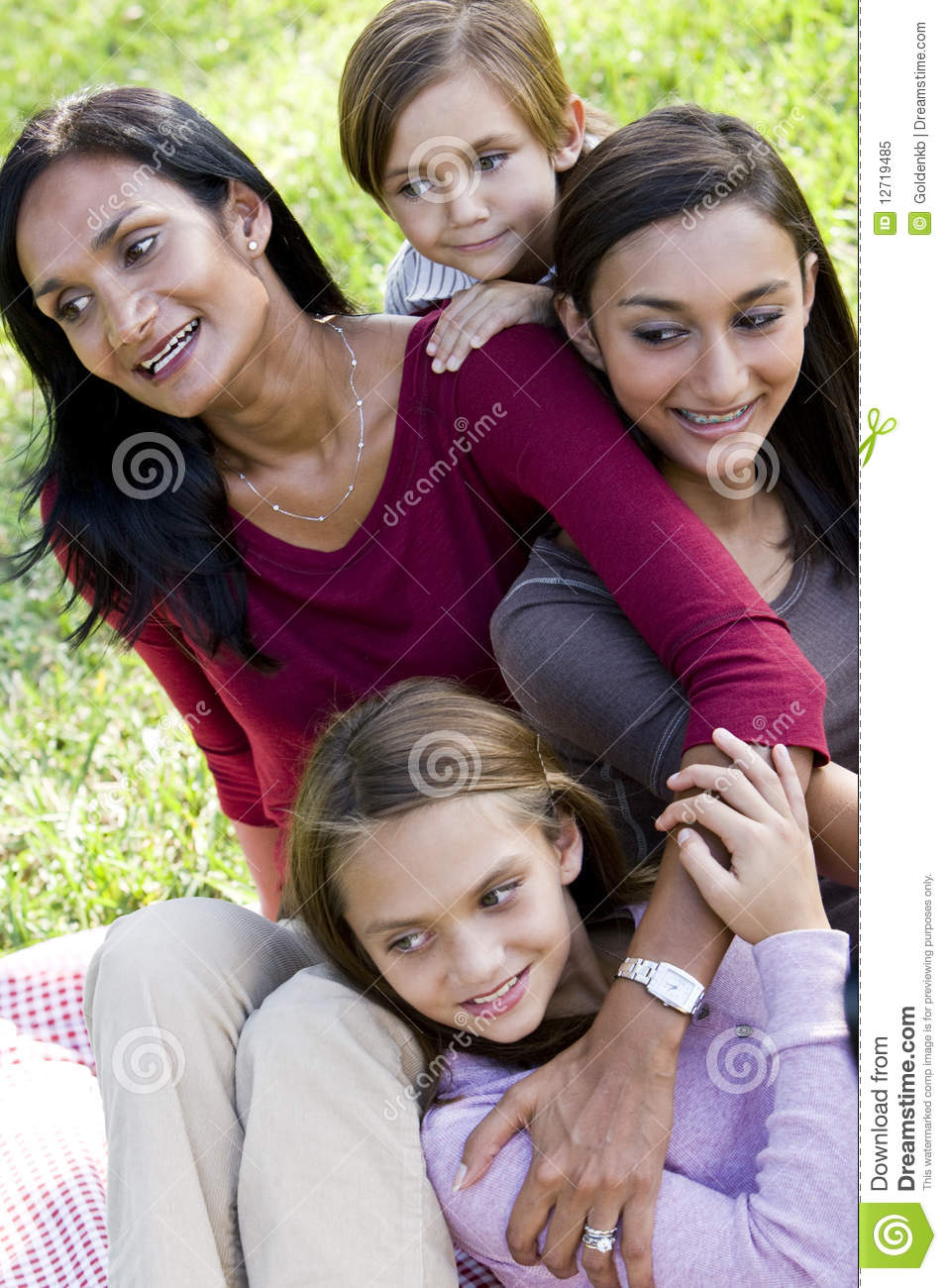 Happy modern multicultural family