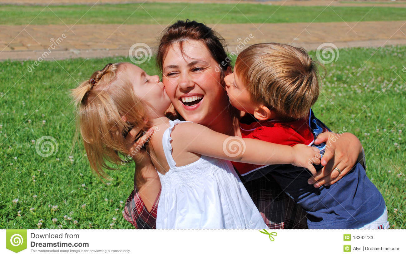 Happy mom and kids