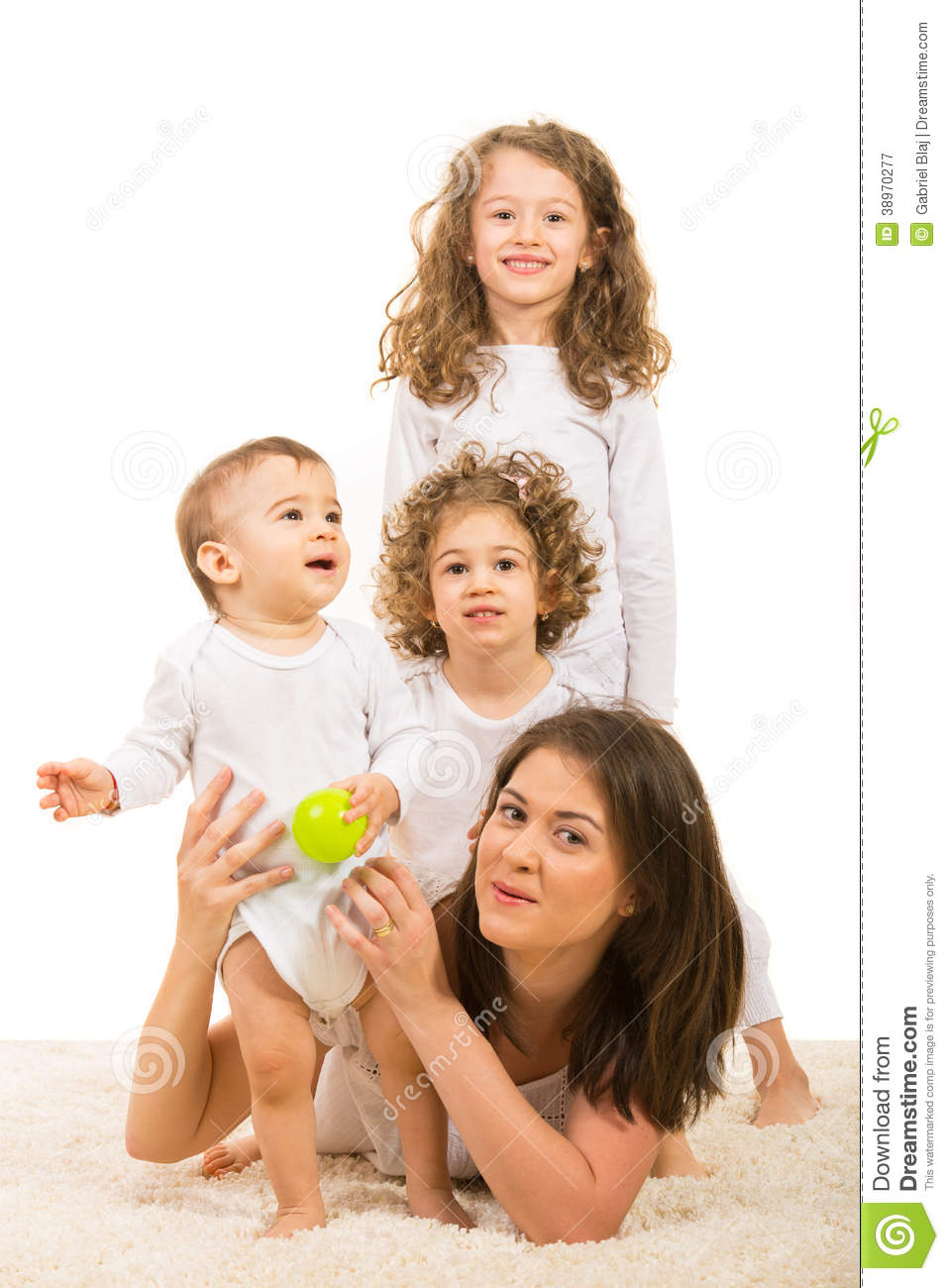Happy Mom And Kids On Top Stock Photo - Image: 38970277