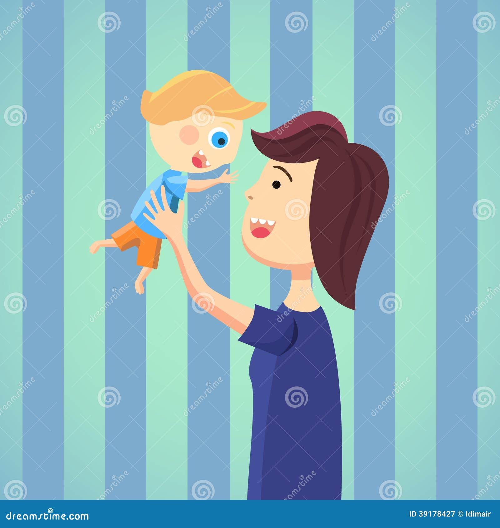 Happy Mom With Son Cartoon Stock Vector Image 39178427