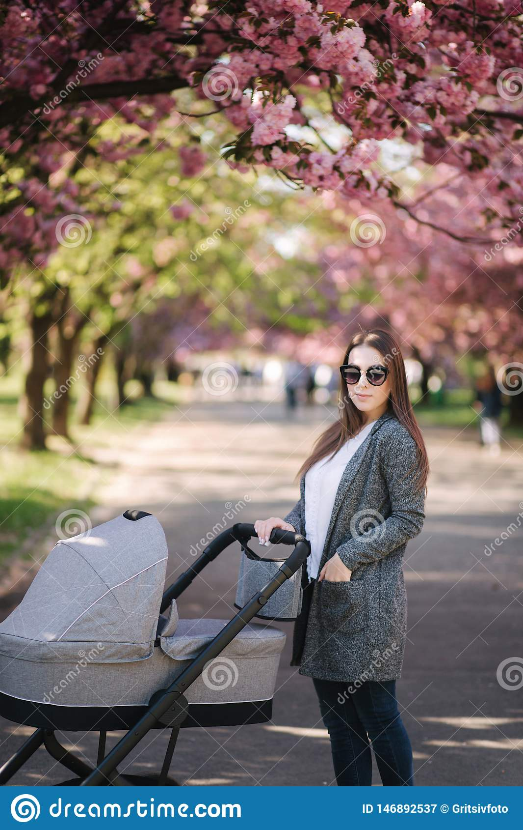 Happy mom walk with her little baby girl in stroller. Background of pink sakura tree