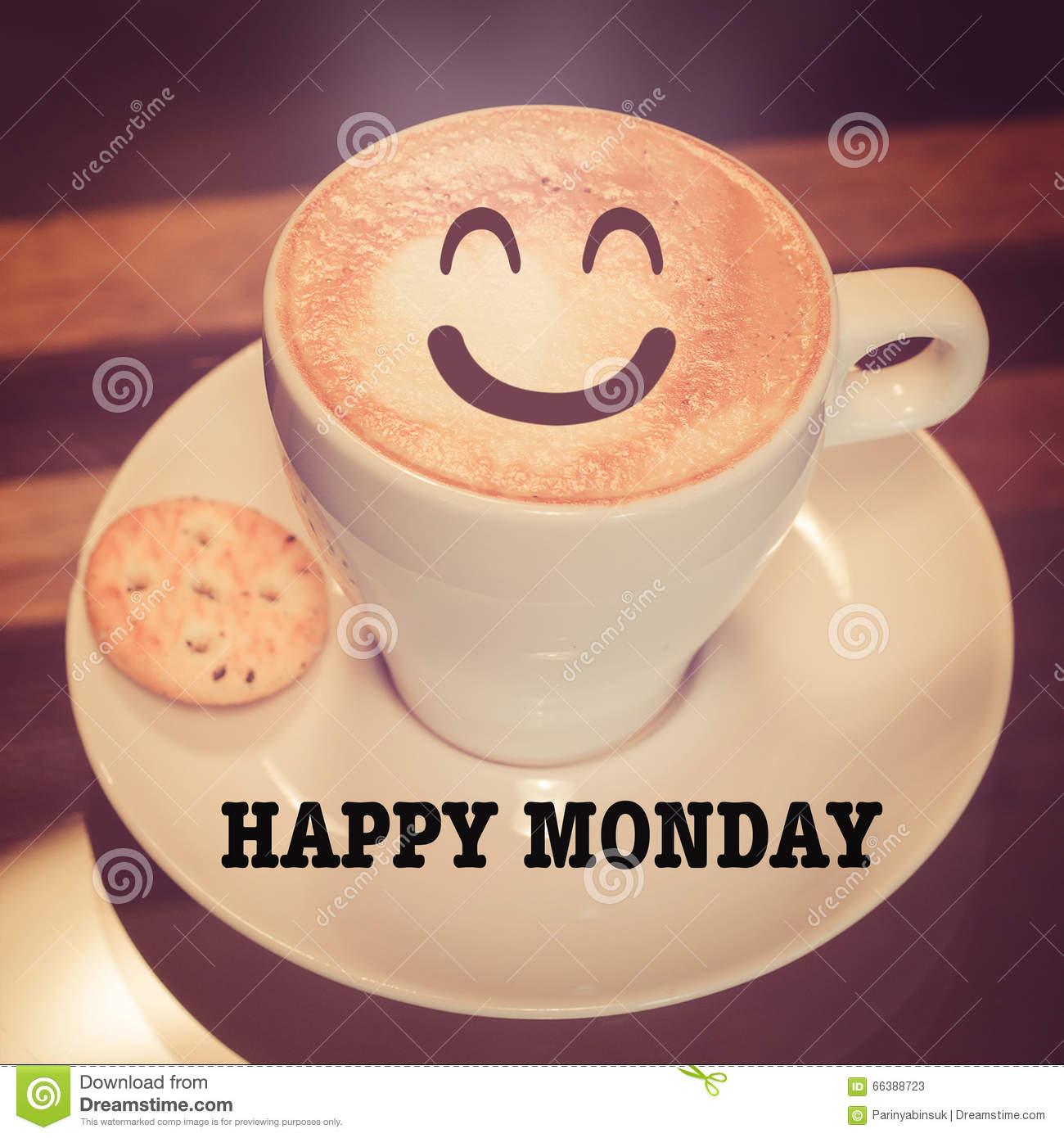 Happy Monday With Coffee Cup On Table Stock Image - Image of cafe ... #mondayCoffee