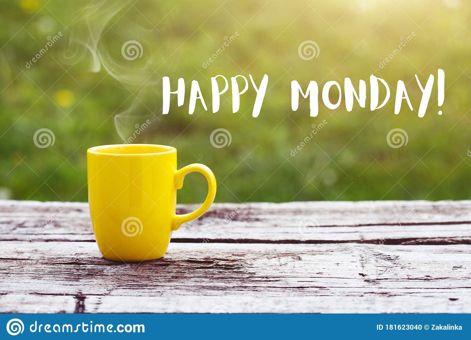 Happy Monday Morning Coffee Cup Stock Photo Image Of Drink Background 181623040
