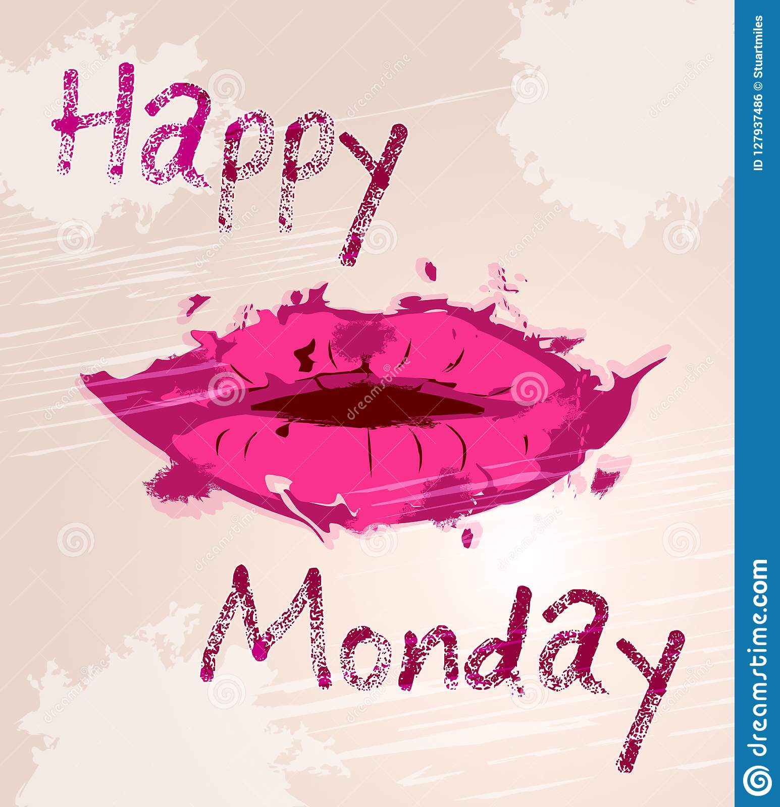 Happy Monday Motivation Quote And Lips 3d Illustration Stock