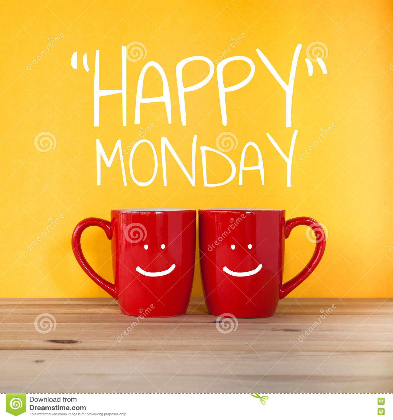 Happy Monday Wordtwo Cups Of Coffee Stock Photo Image Of Cups