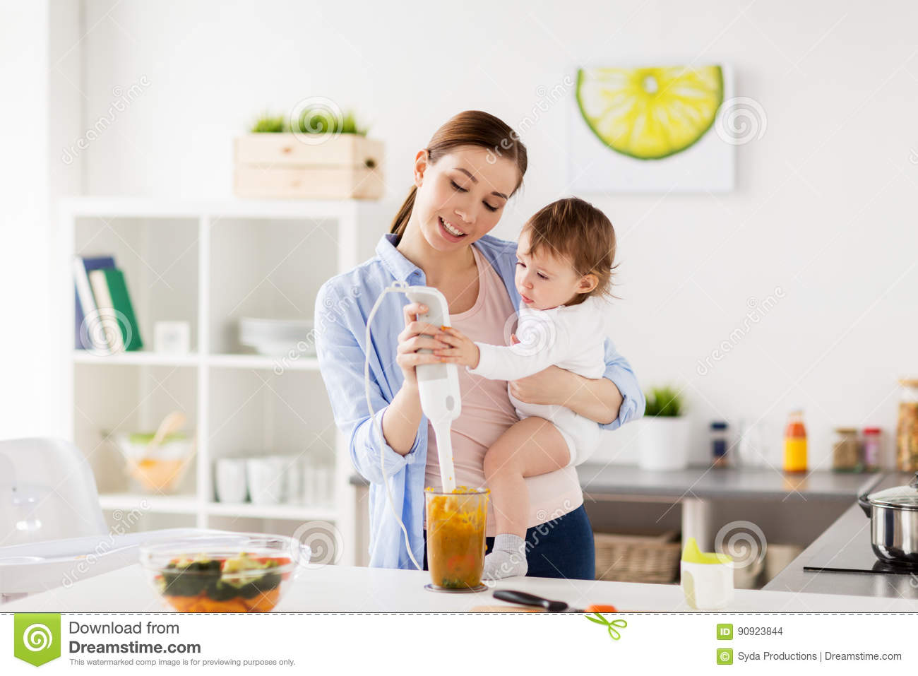 Happy Mother And Baby Cooking Food At Home Kitchen Stock Photo Image 90923844