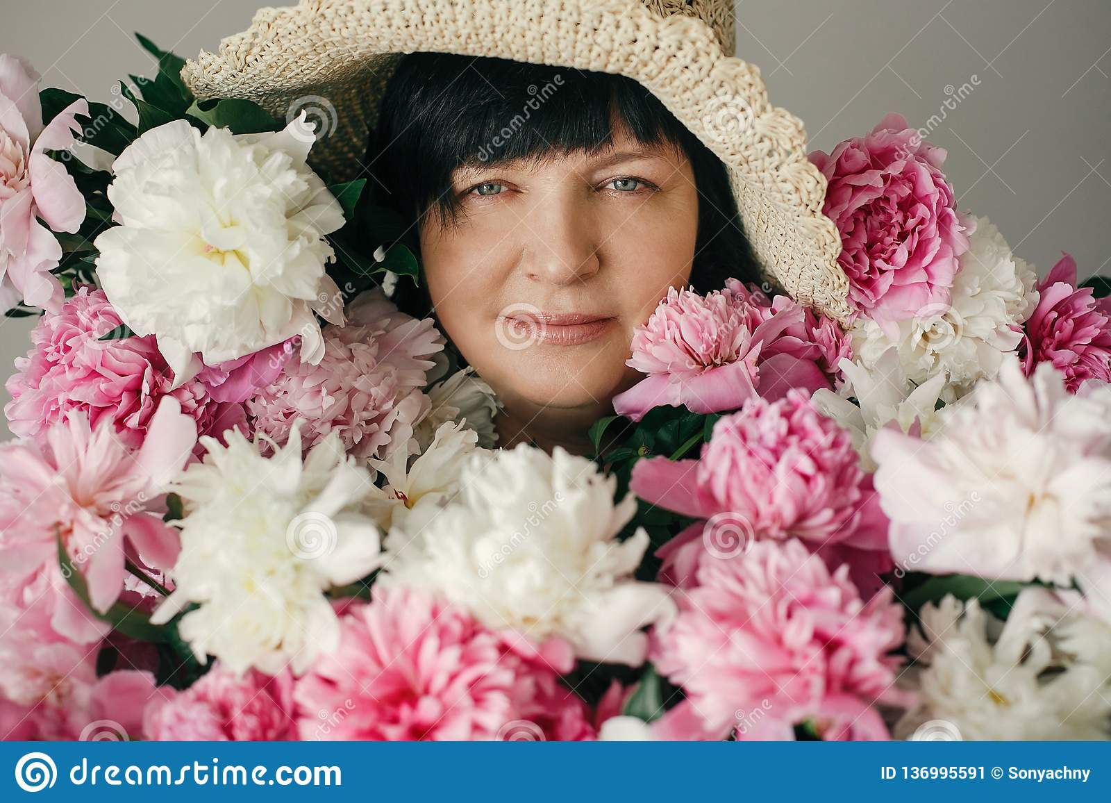 Happy Mother With Big Bouquet Of Pink Peonies Giving From ...