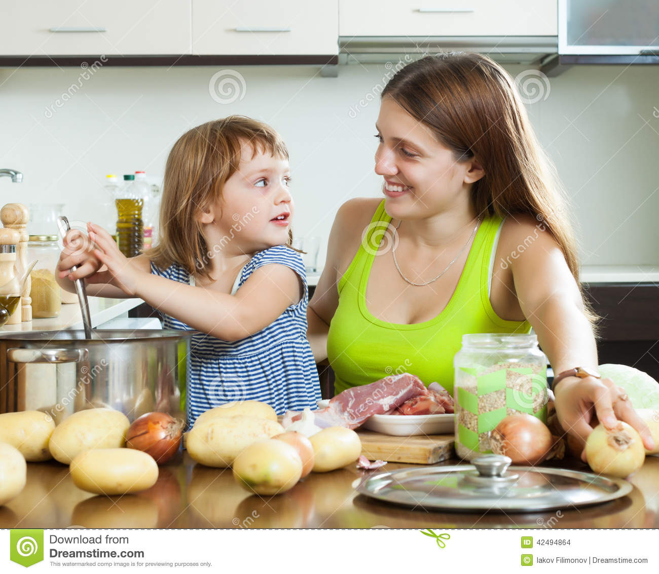 Happy Mother With Child Cooking Soup F Stock Photo Image 42494864
