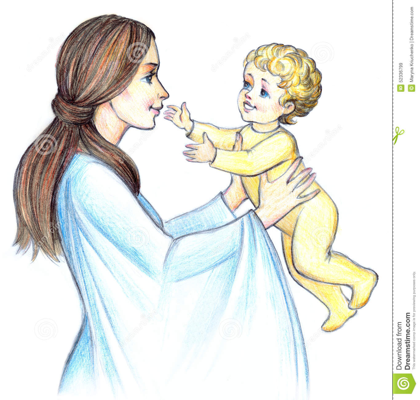 Happy mother with child pencil frame happy beautiful pretty smiling young mama holds in