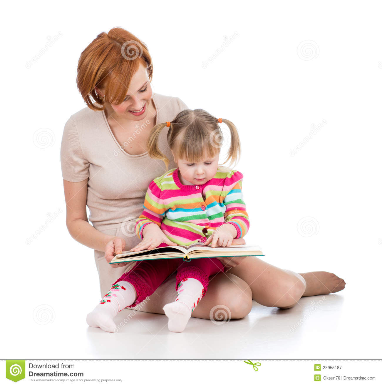 Free stock photography happy mother and child read a book together