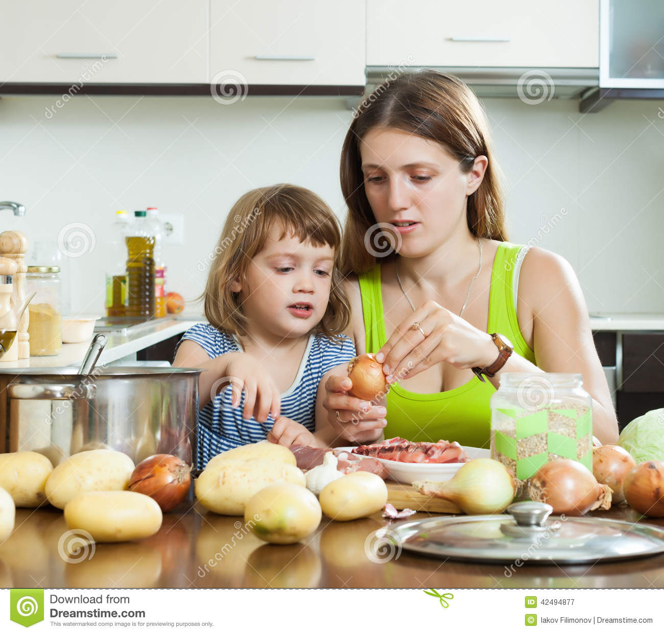 Happy Mother With Child T Home Kitchen Stock Photo Image 42494877