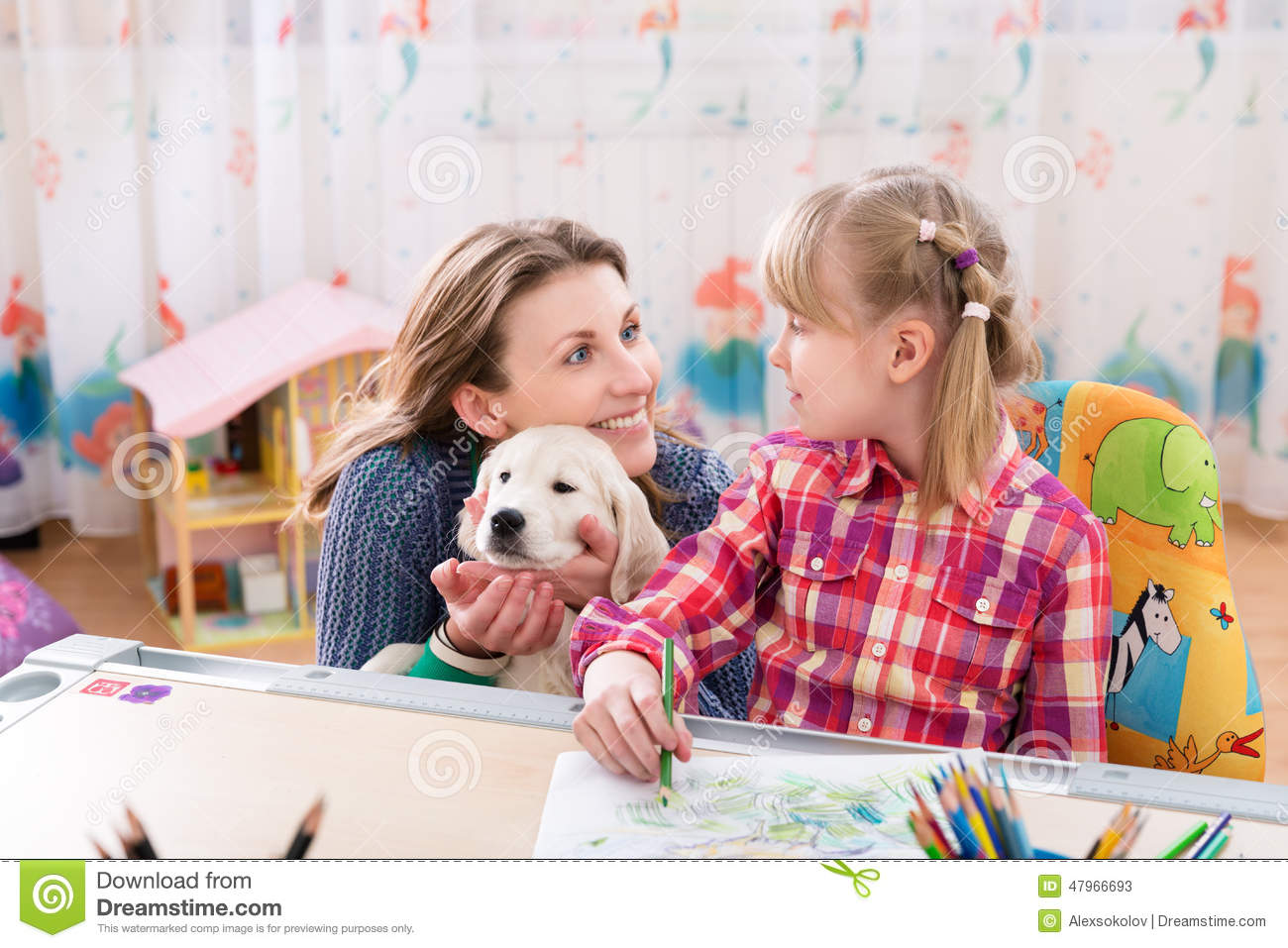 Mother And Daughter With Dog Stock Photo - Image: 58473266 |Dog Mom And Daughter