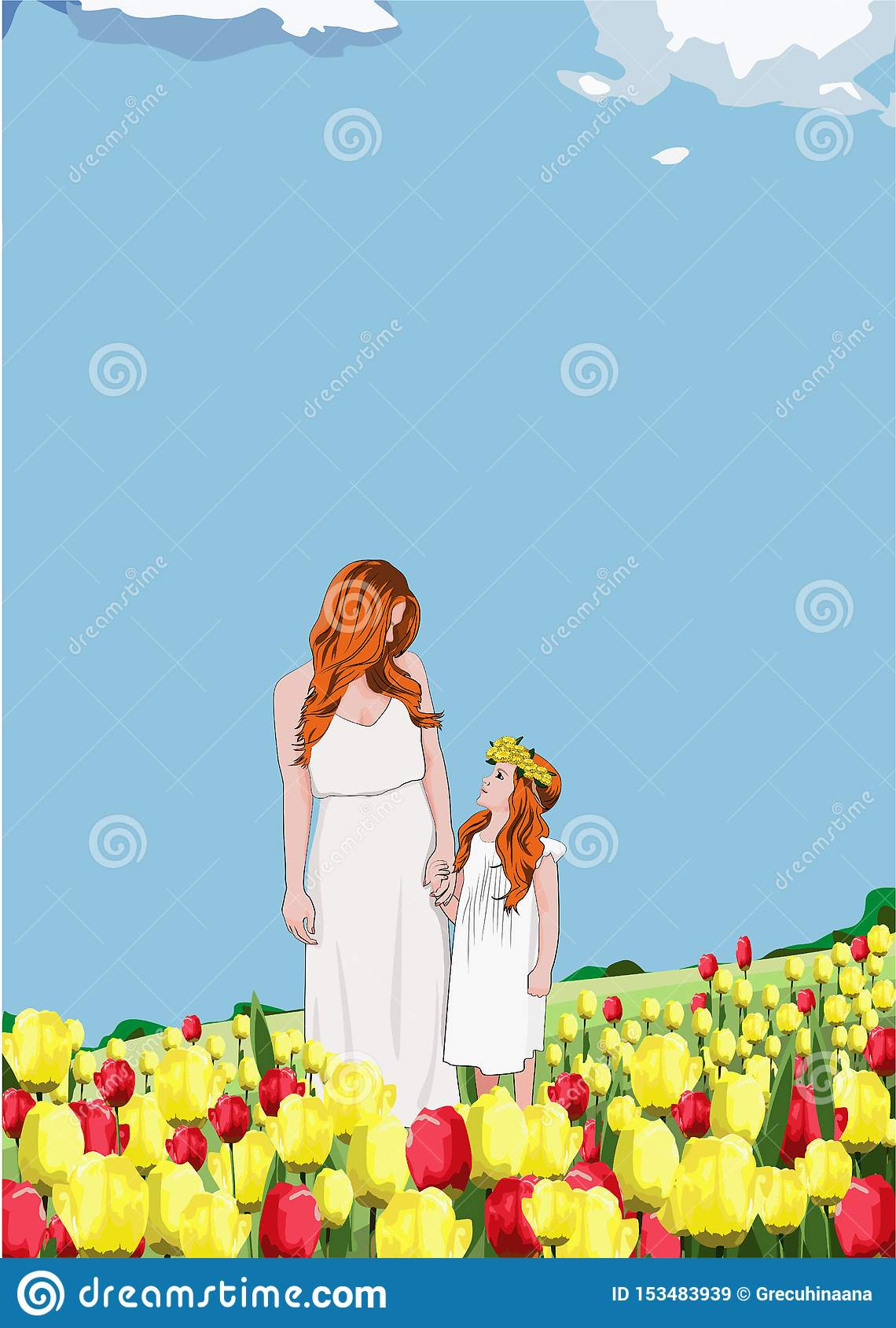 Happy mother and daughter on a spring afternoon among a field of tulips