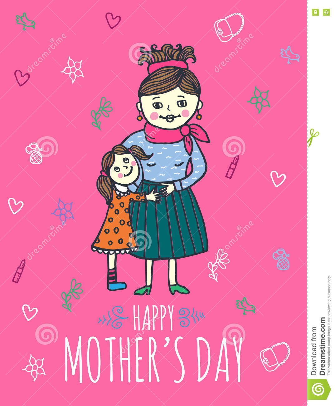 Happy mother day card with mum and daughter stock illustration happy mother day card with mum and daughter m4hsunfo