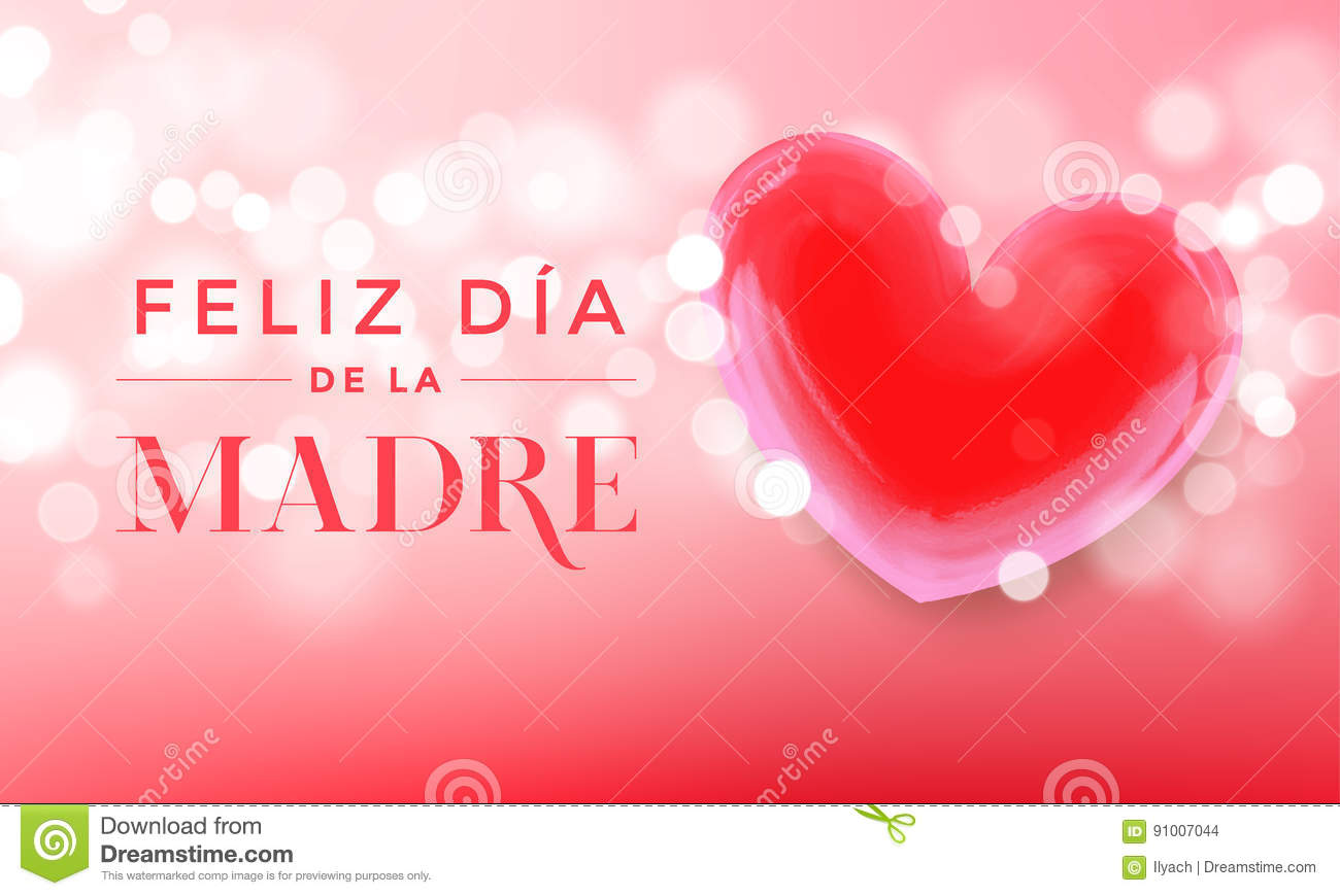 happy mother day pink heart text vector greeting card stock vector