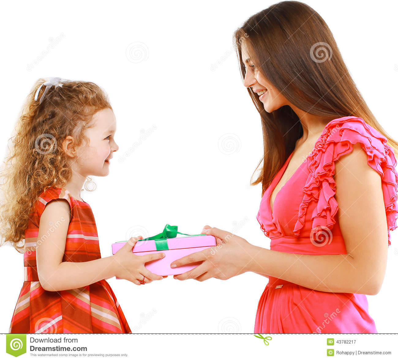 Happy Mother Gives Gift Box Child, Christmas, Holiday ...