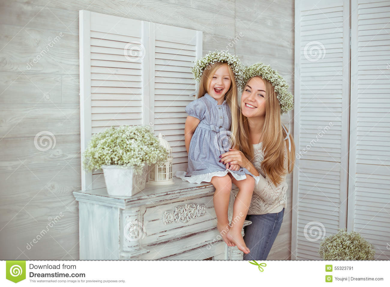 A happy mother and her daughter are excited