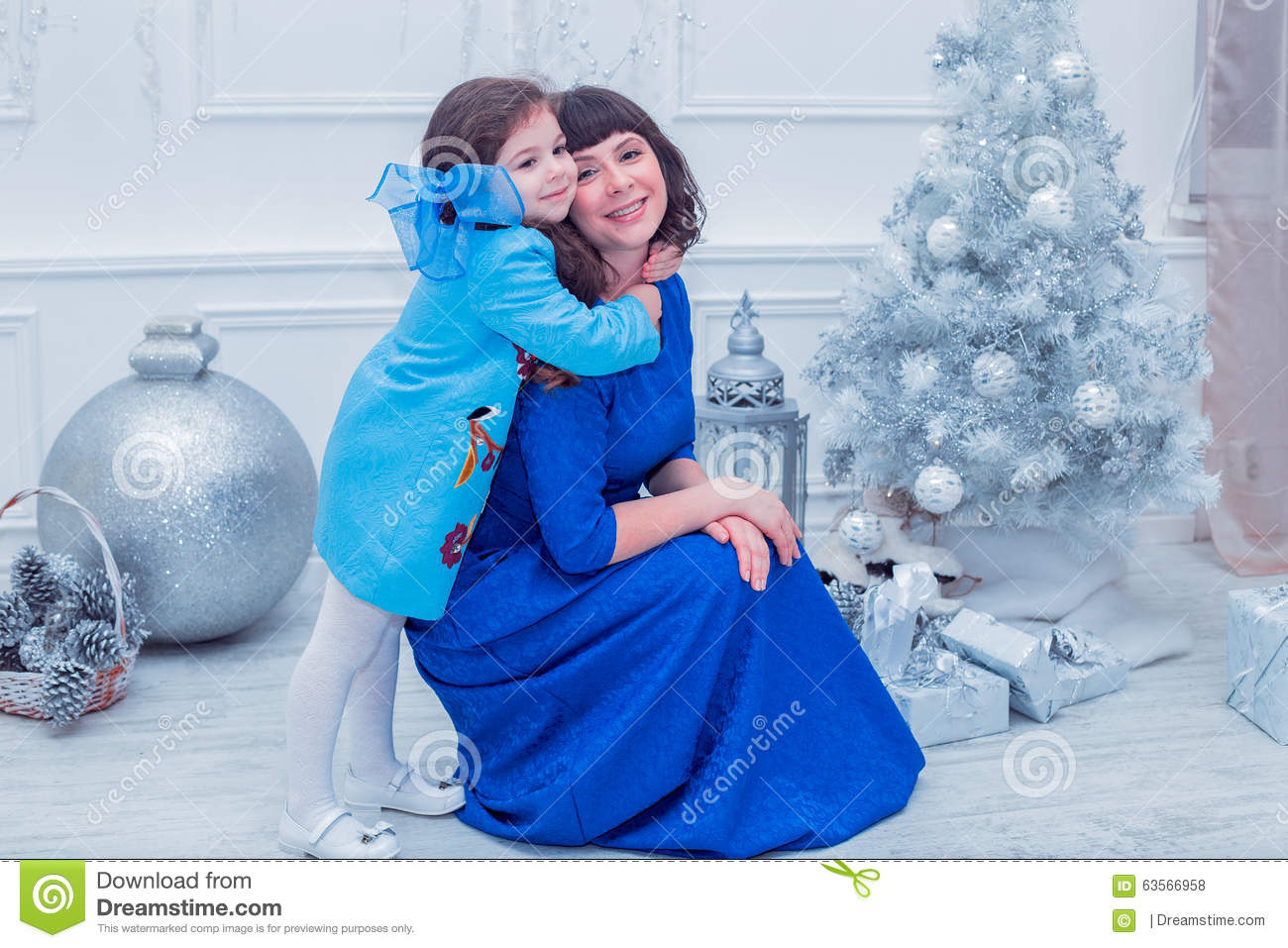 Mom daughter dresses decorate christmas tree stock photo edit now