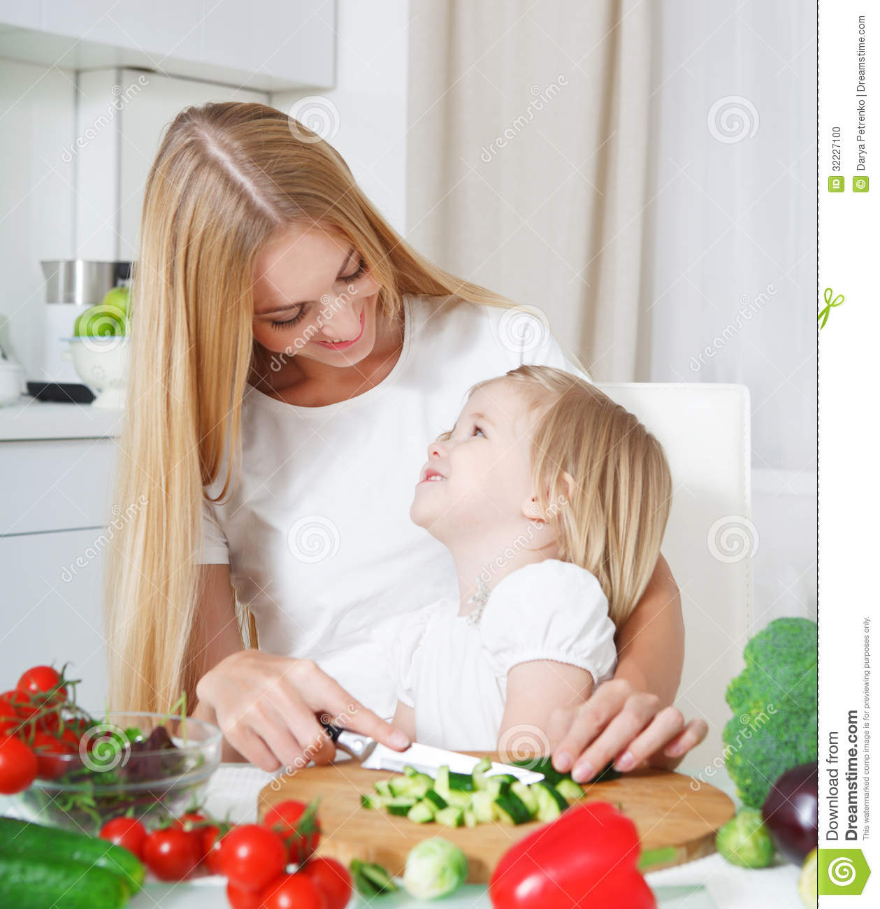 Happy Mother And Her Little Daughter In The Kitchen Stock Photo Image 32227100