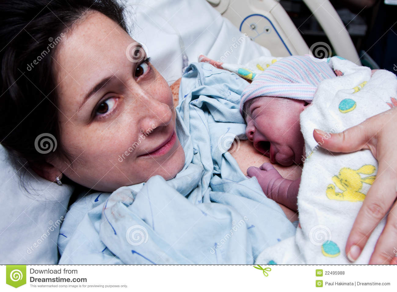 happy mother holding newborn baby after birth stock photo - image of