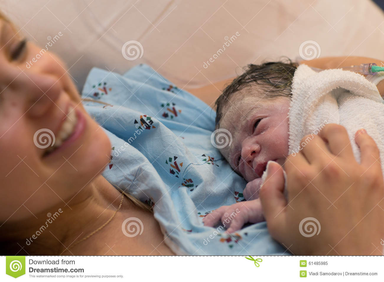 Happy Mother Holding Newborn Right After Delivery Stock ...
