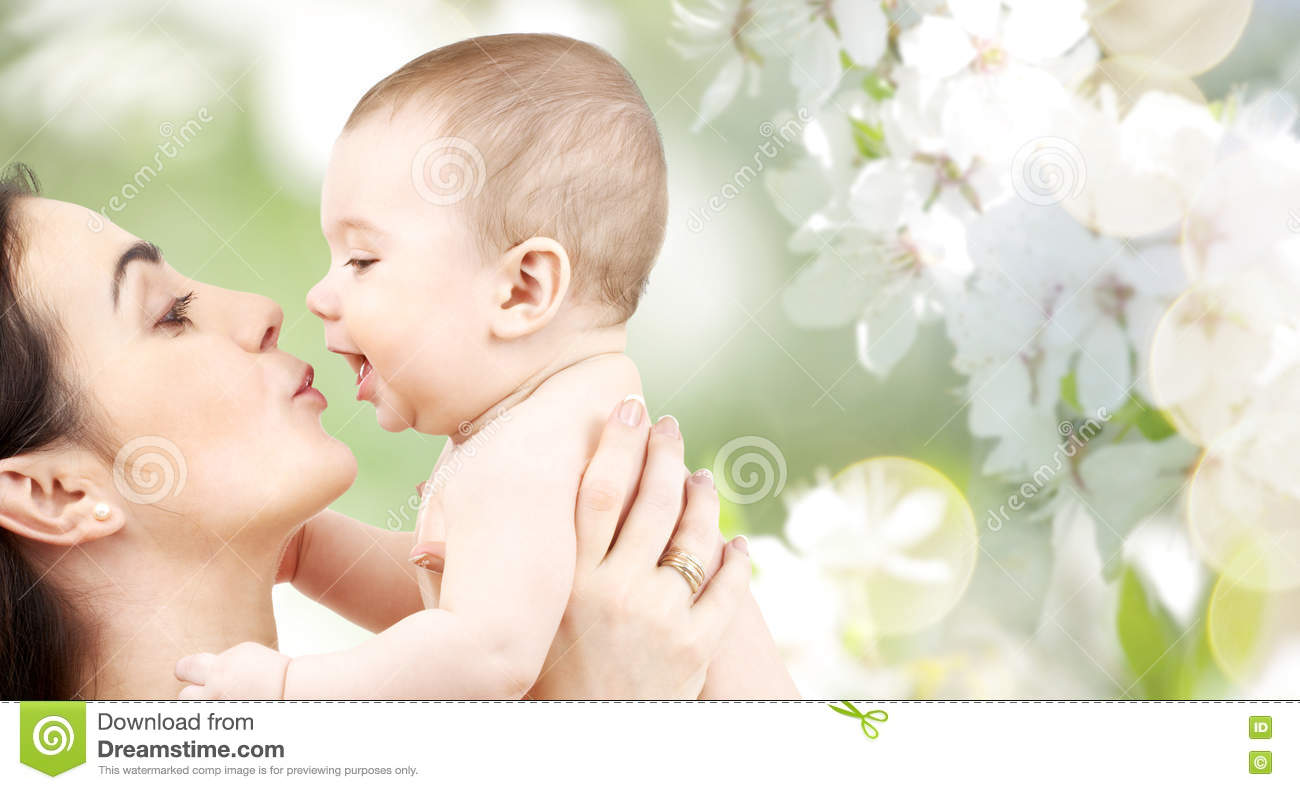 Happy Mother Kissing Adorable Baby Stock Photo - Image ...
