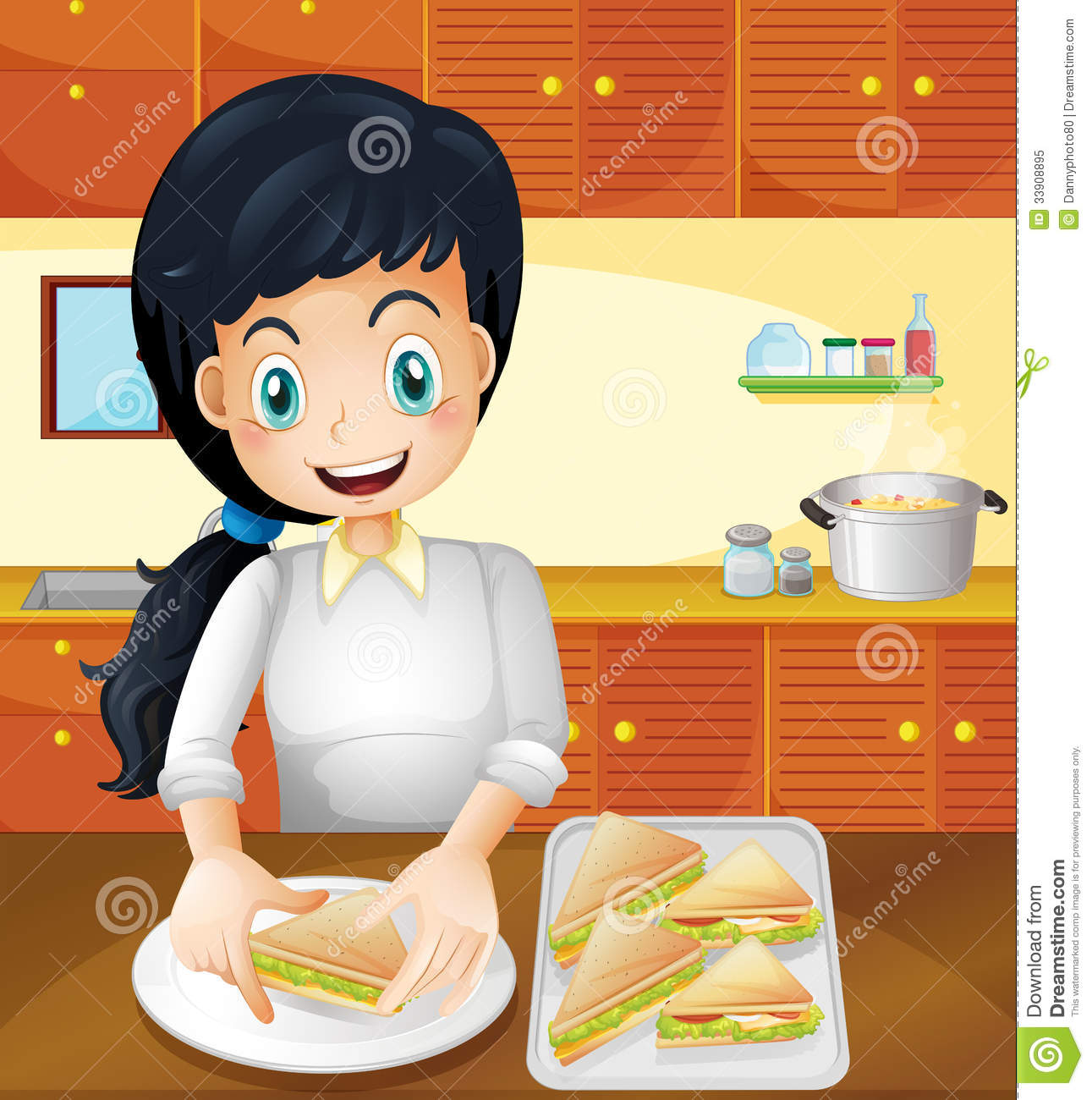 A Happy Mother Preparing Snacks In The Kitchen Royalty Free Stock Photo Image 33908895
