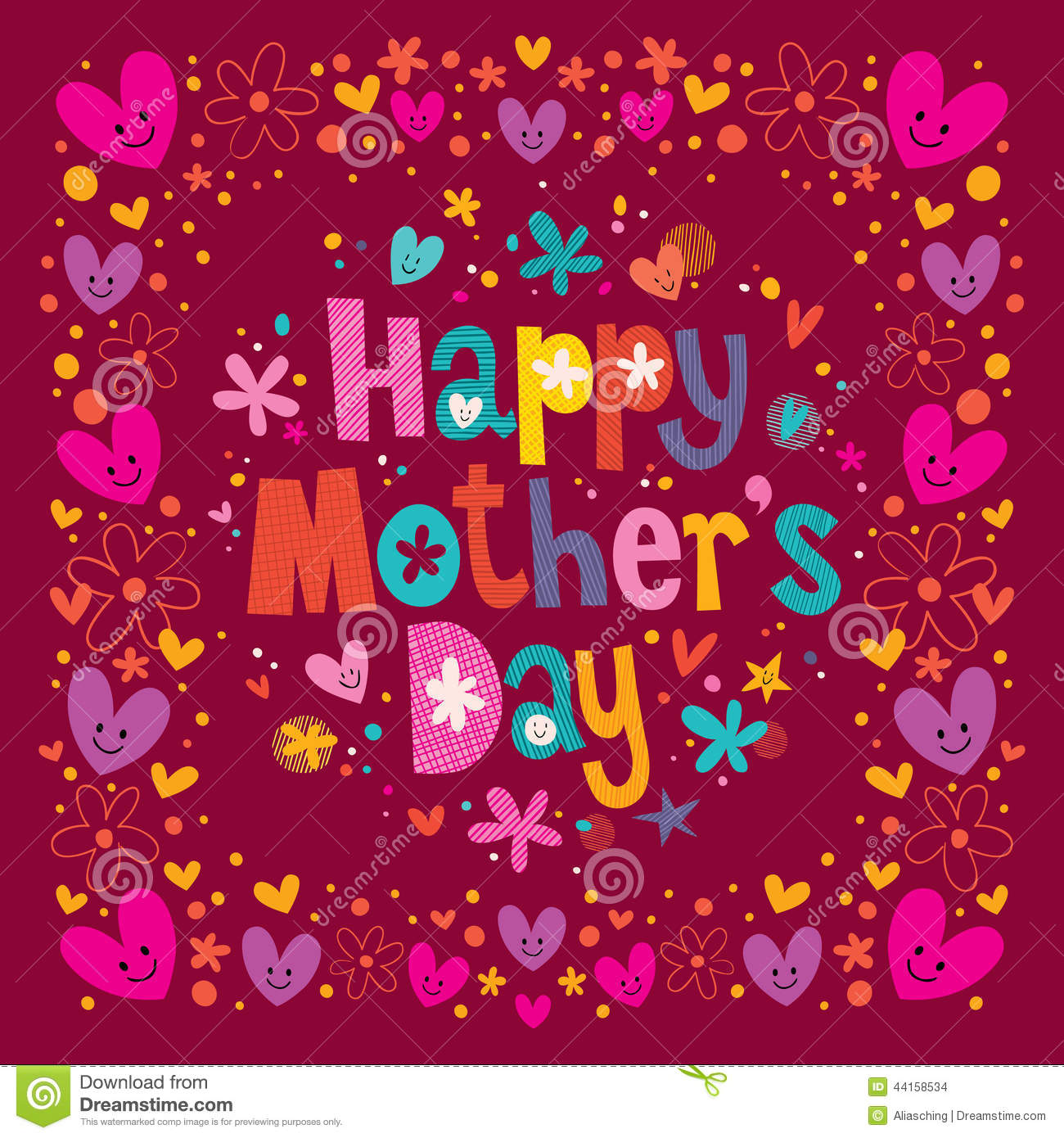 Happy Mothers Day Card Stock Vector Illustration Of Writing 44158534
