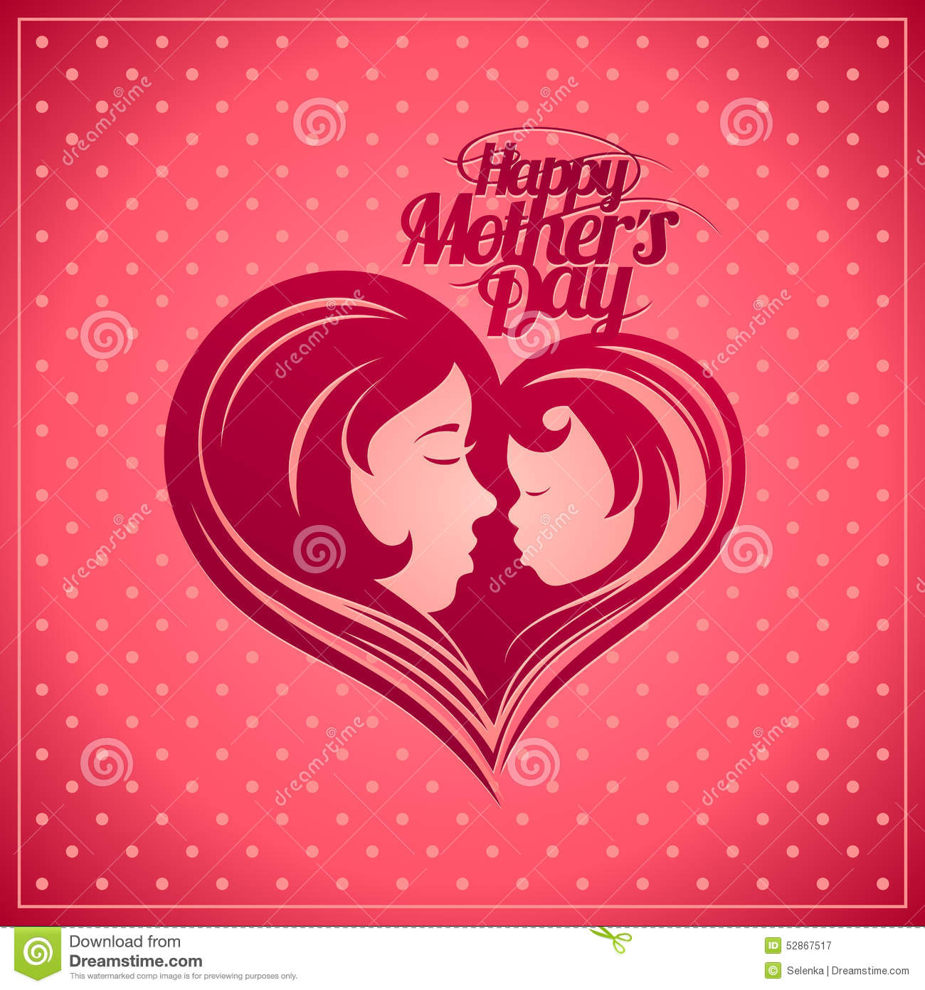 Happy Mother S Day Card With Mother And Child Silhouette