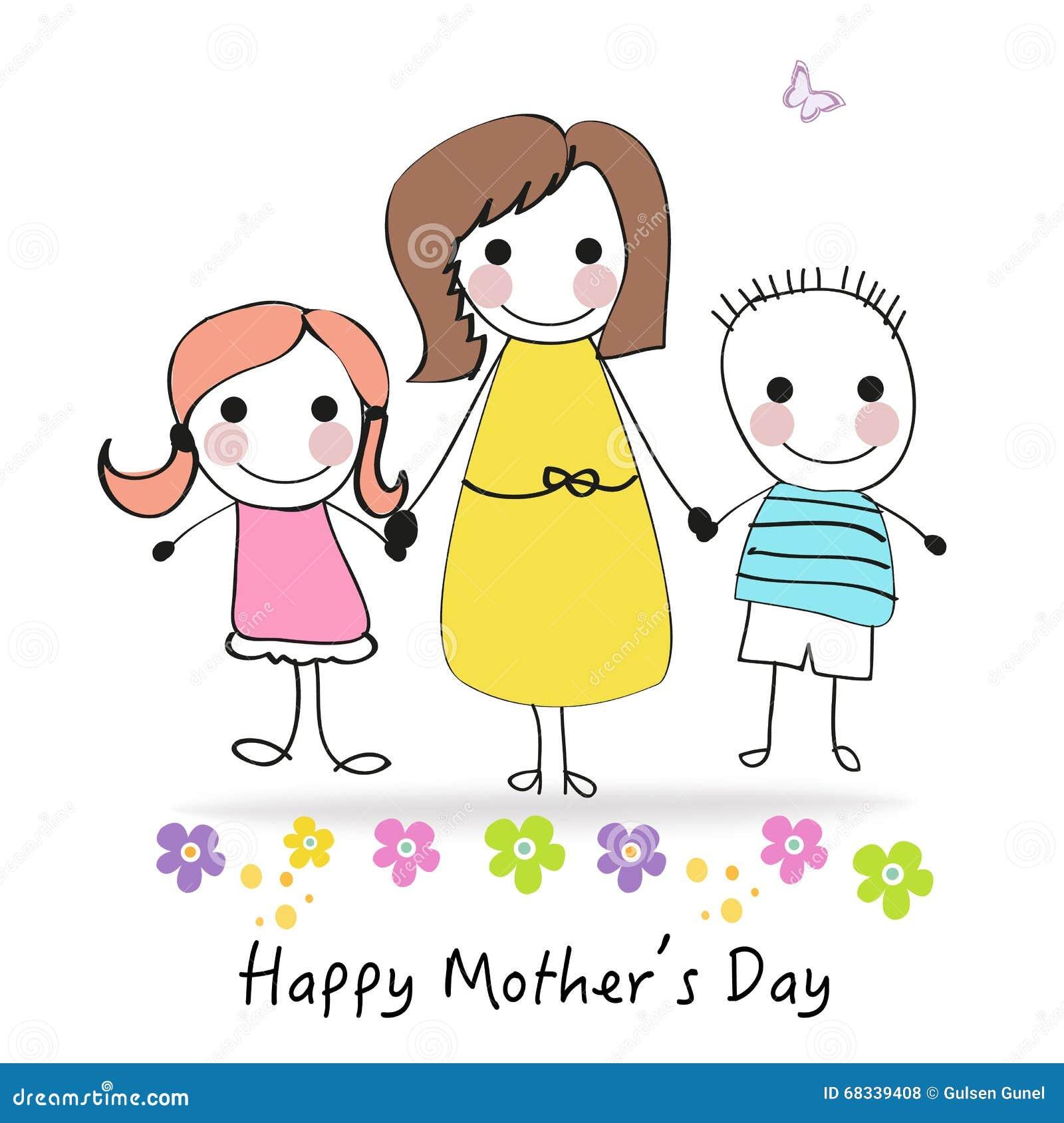 Für Kids Mütter Und Die Großen: Happy Mother's Day Greeting Card With Cartoon Kids And