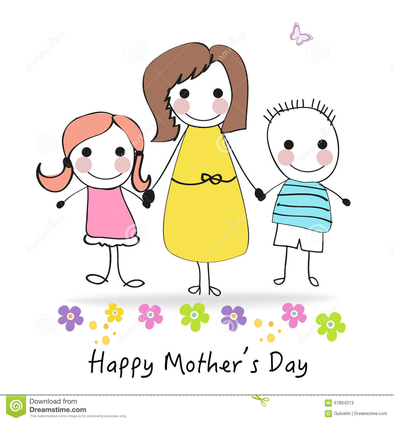 Happy Mothers Day Greeting Card With Cartoon Kids And Mother Vector