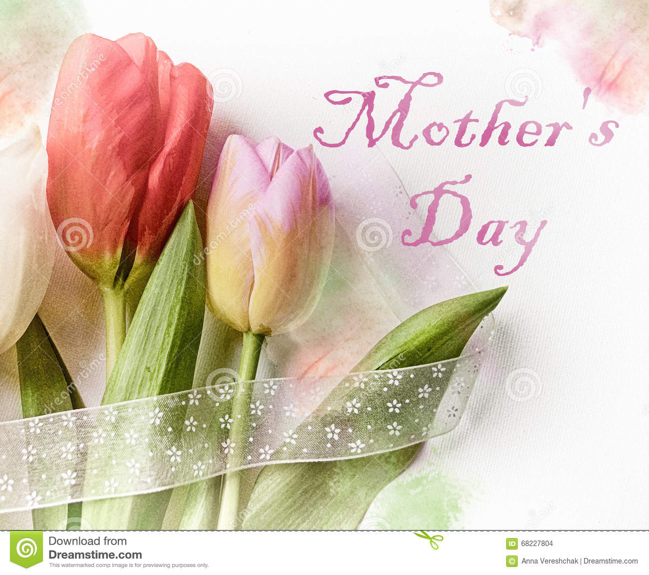 Happy mothers day greeting card with colorful tulips festive happy mother s day greeting card with colorful tulips festive composition with beautiful tulip kristyandbryce Image collections