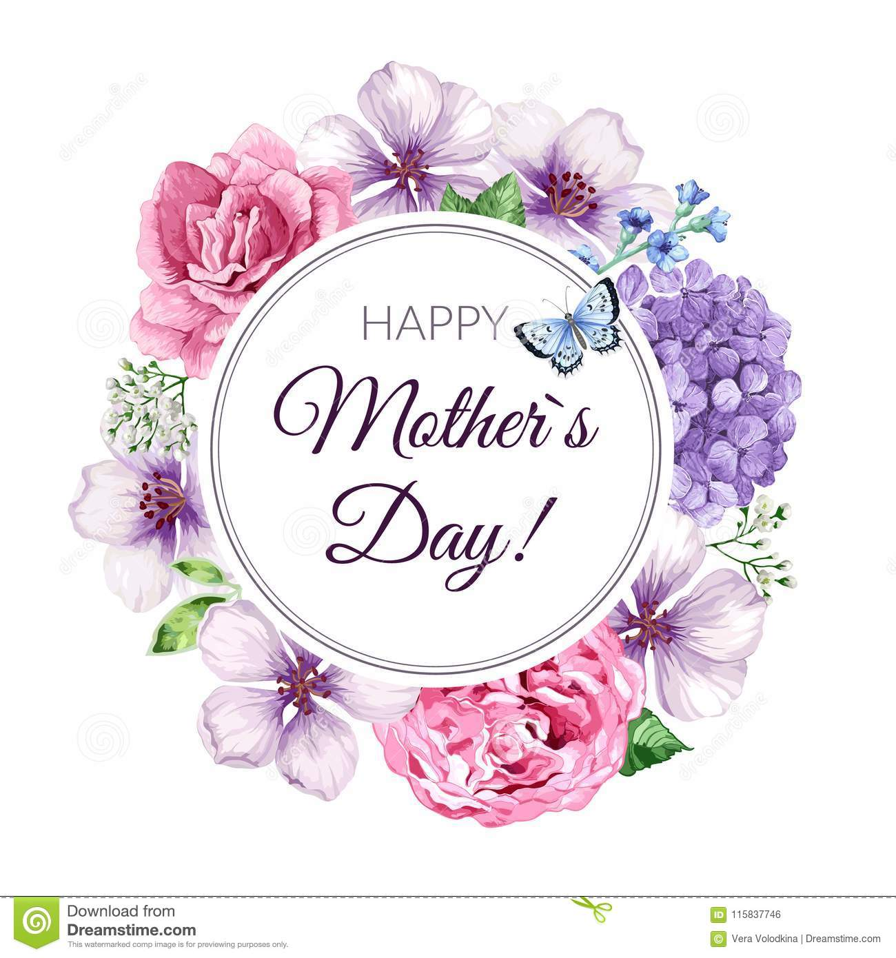 happy mother s day greeting card on floral background