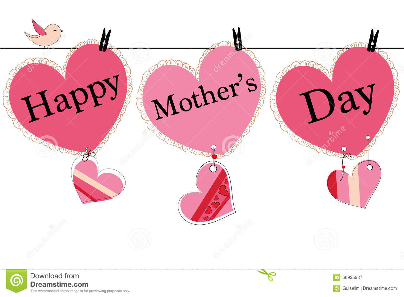 Happy mothers day greeting card with hanging heart and i love you happy mother s day greeting card with hanging heart and i love you text vector background concept pattern kristyandbryce Image collections