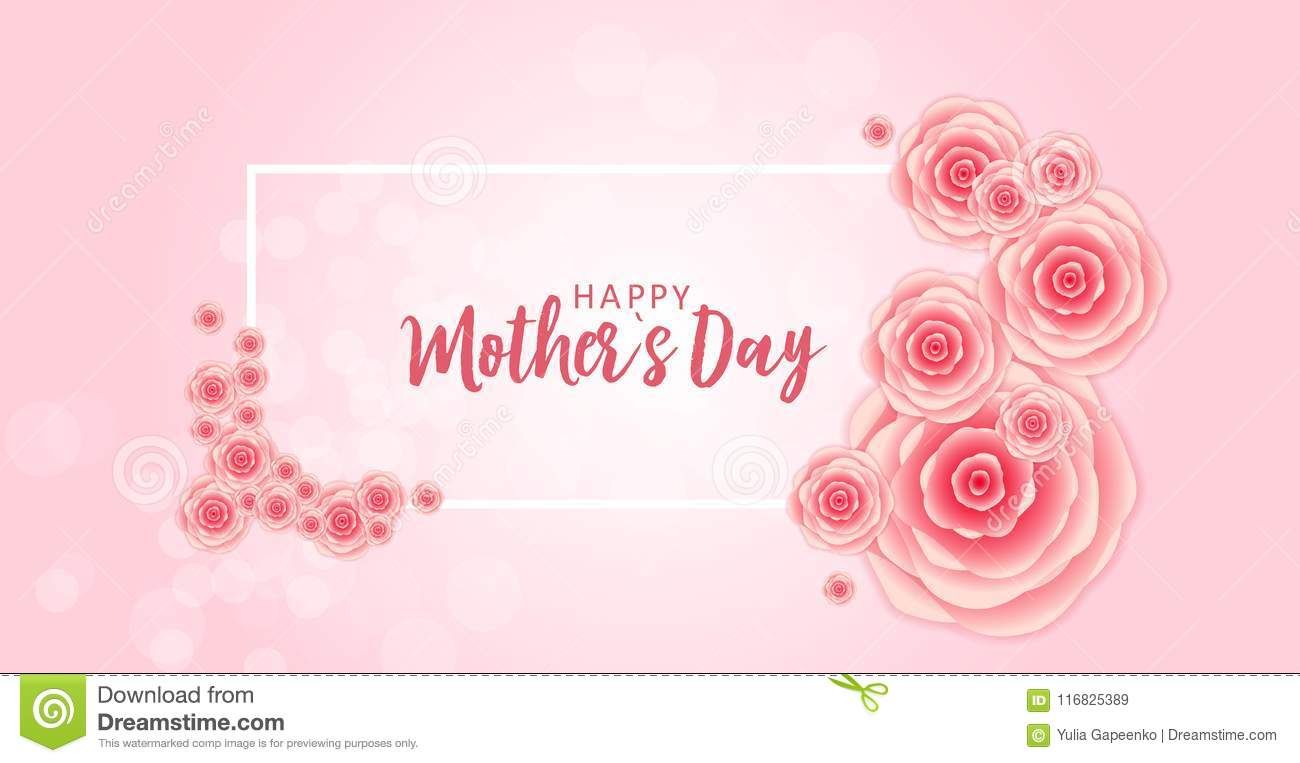 Happy Mothers Day Greeting Card With Paper Origami Flowers