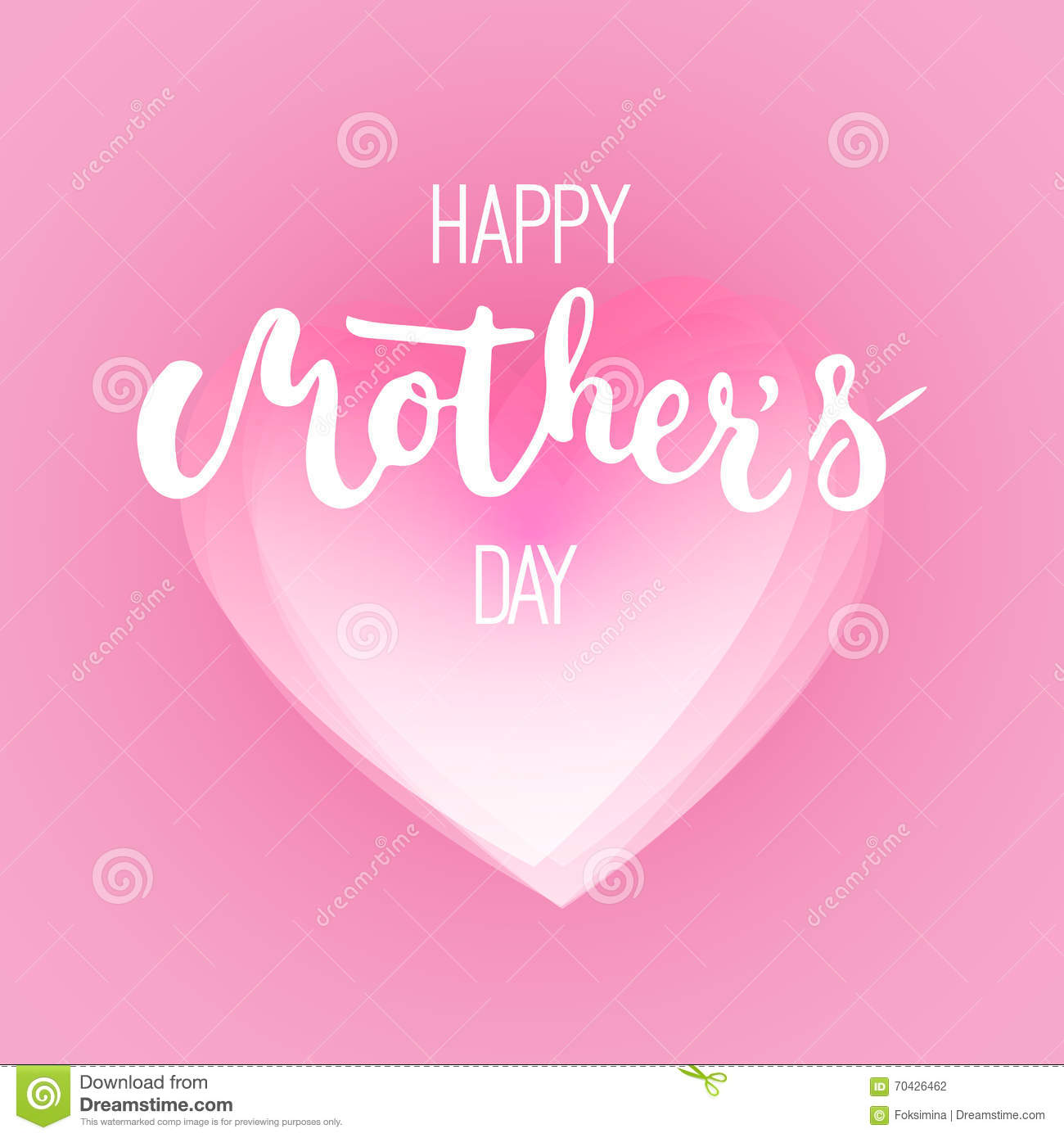 happy mother s day greeting card with pink heart on the pink