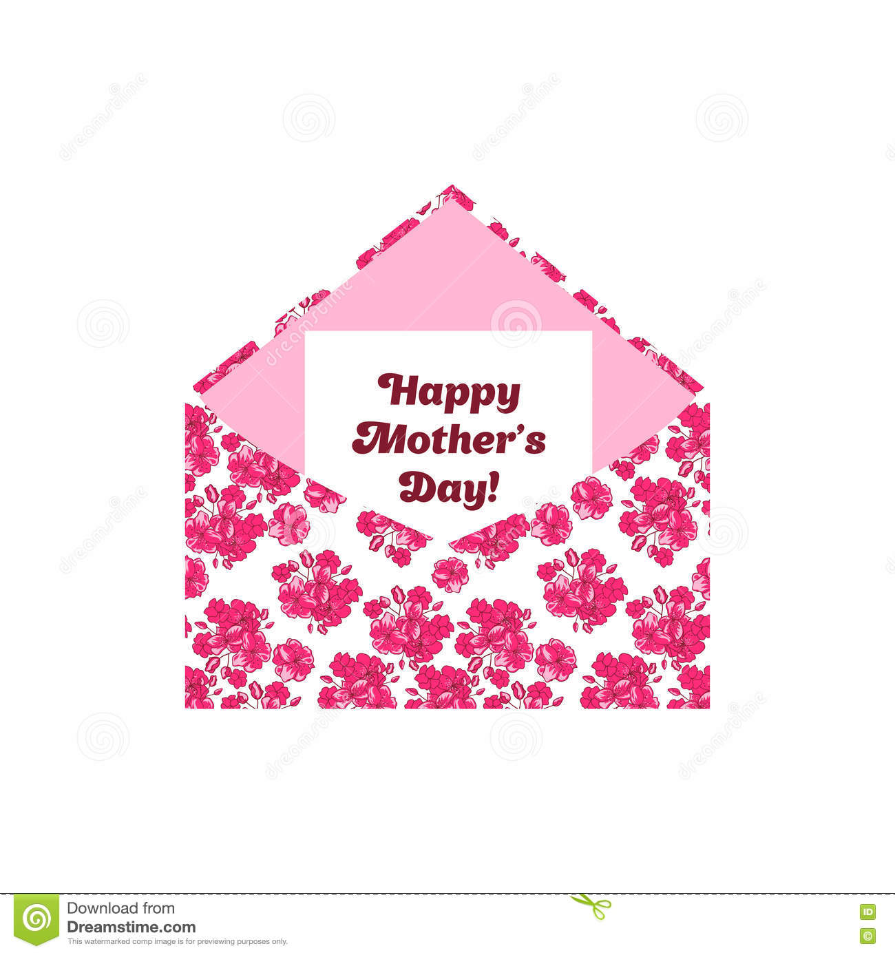 Happy Mother s Day greeting letter in the envelope. Pink flowers.